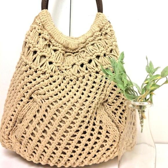 8e232bb31 Lucky Brand Handbags - Lucky Brand Macrame Crochet Canvas Festival Bag